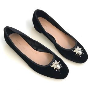 Zara velvet ballerinas with metal bee detail 37
